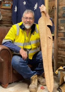 Christopher Rigg with sculpture