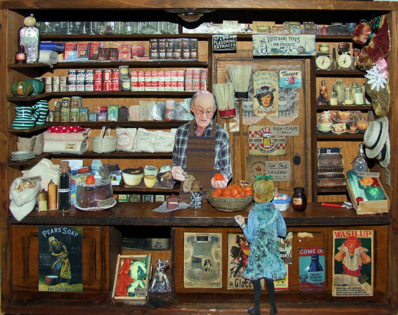 Angus Bahnisch and Penny Eamer | The old shop (detail) | Diorama | 28cm x 37cm