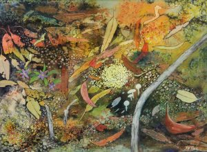 fungi and leaf litter painting